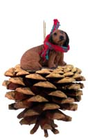 Dachshund Longhaired Red Pinecone Pet Ornament