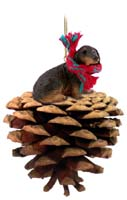 Dachshund Longhaired Black Pinecone Pet Ornament