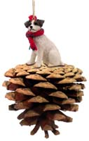 Jack Russell Terrier Brown & White w/Rough Coat Pinecone Pet Ornament