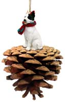 Pit Bull Terrier White Pinecone Pet Ornament