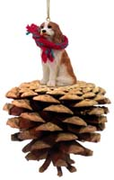 Cavalier King Charles Spaniel Brown & White Pinecone Pet Ornament