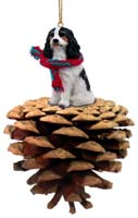 Cavalier King Charles Spaniel Black & White Pinecone Pet Ornament