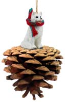 American Eskimo Pinecone Pet Ornament