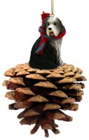 Bearded Collie Pinecone Pet Ornament