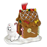Poodle White Ginger Bread House Ornament