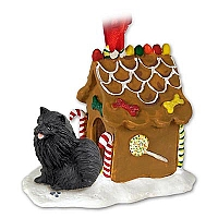 Pomeranian Black Ginger Bread House Ornament