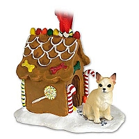 Chihuahua Tan & White Ginger Bread House Ornament