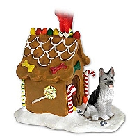 German Shepherd Black & Silver Ginger Bread House Ornament