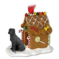 Great Dane Black w/Uncropped Ears Ginger Bread House Ornament