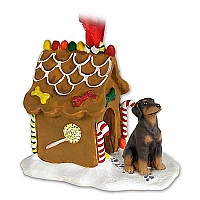 Doberman Pinscher Red w/Uncropped Ears Ginger Bread House Ornament
