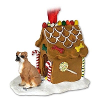 Boxer w/Uncropped Ears Ginger Bread House Ornament