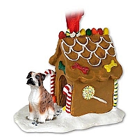 Boxer Brindle w/Uncropped Ears Ginger Bread House Ornament