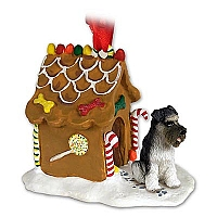Schnauzer Gray w/Uncropped Ears Ginger Bread House Ornament