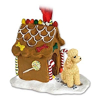 Poodle Apricot w/Sport Cut Ginger Bread House Ornament