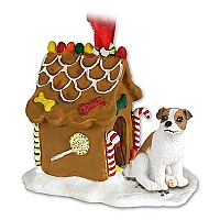 Jack Russell Terrier Brown & White w/Smooth Coat Ginger Bread House Ornament