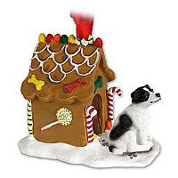 Jack Russell Terrier Black & White w/Smooth Coat Ginger Bread House Ornament