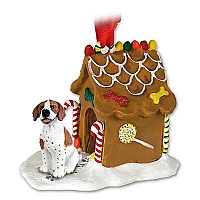 Pointer Brown & White Ginger Bread House Ornament