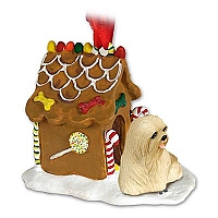 Lhasa Apso Blonde Ginger Bread House Ornament
