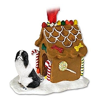 Japanese Chin Black & White Ginger Bread House Ornament