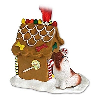 Japanese Chin Red & White Ginger Bread House Ornament
