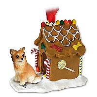 Chihuahua Longhaired Ginger Bread House Ornament
