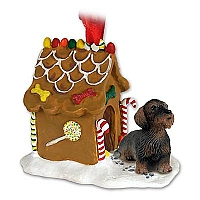 Wire Haired Dachshund Red Ginger Bread House Ornament