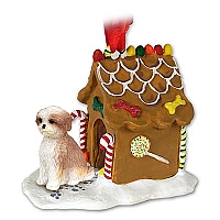 Shih Tzu Tan w/Sport Cut Ginger Bread House Ornament