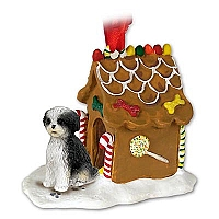 Shih Tzu Black & White w/Sport Cut Ginger Bread House Ornament