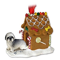 Lhasa Apso Gray w/Sport Cut Ginger Bread House Ornament