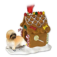 Lhasa Apso Brown w/Sport Cut Ginger Bread House Ornament