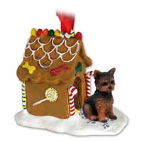 Yorkshire Terrier Puppy Cut Ginger Bread House Ornament