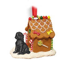 Labradoodle Black Ginger Bread House Ornament