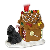 Cocker Spaniel Black Ginger Bread House Ornament
