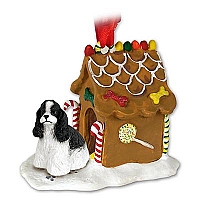 Cocker Spaniel Black & White Ginger Bread House Ornament