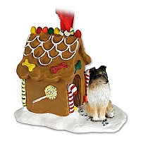 Sheltie Tricolor Ginger Bread House Ornament