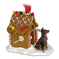 Doberman Pinscher Red w/Cropped Ginger Bread House Ornament