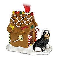 Shih Tzu Black & White Ginger Bread House Ornament
