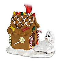 Shih Tzu White Ginger Bread House Ornament
