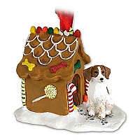 Brittany Brown & White Spaniel Ginger Bread House Ornament