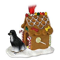 Afghan Black & White Ginger Bread House Ornament Ornament
