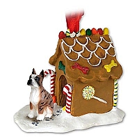 Boxer Brindle Ginger Bread House Ornament