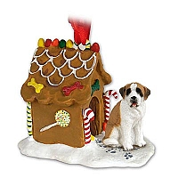 Saint Bernard w/Smooth Coat Ginger Bread House Ornament