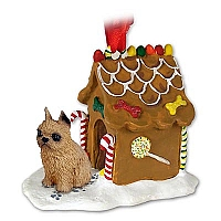 Brussels Griffon Red Ginger Bread House Ornament