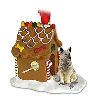 Norwegian Elkhound Ginger Bread House Ornament