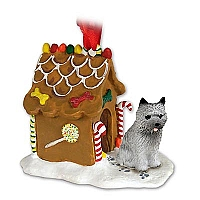 Cairn Terrier Gray Ginger Bread House Ornament