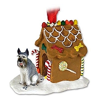 Schnauzer Giant Gray Ginger Bread House Ornament