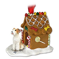 Wire Fox Terrier Red Ginger Bread House Ornament