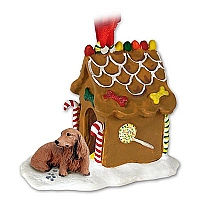 Dachshund Longhaired Red Ginger Bread House Ornament
