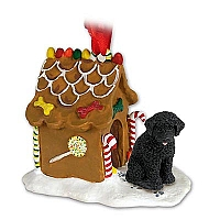 Portuguese Water Dog Ginger Bread House Ornament