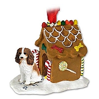 Cavalier King Charles Spaniel Brown & White Ginger Bread House Ornament